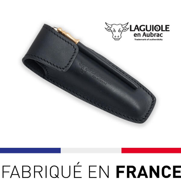 Etui de ceinture laguiole en cuir noir avec fusil