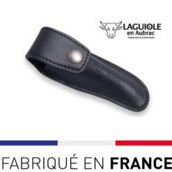 Etui cuir ceinture noir Laguiole en Aubrac
