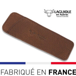 Laguiole en Aubrac - étui cuir grainé marron 12cm