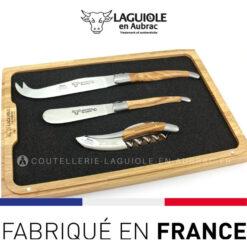 coffret laguiole vin et fromage bois olivier