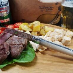 couteau à steak laguiole en aubrac corne blonde