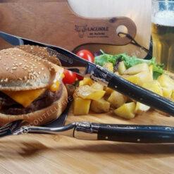 couteau et fourchette laguiole bois ebene