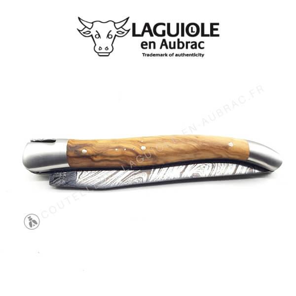 couteau laguiole en aubrac lame damas olivier doubles platines