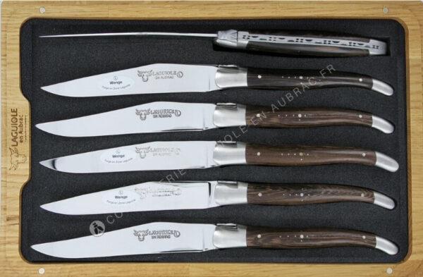 couteaux à steak laguiole en aubrac wenge