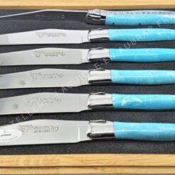 couteaux de table laguiole en aubrac bleu larimar