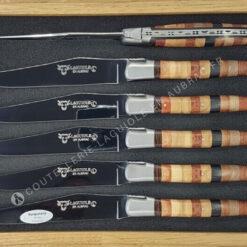 couteaux de table laguiole en aubrac en marqueterie woodstock