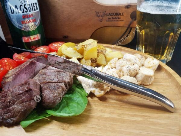 couteaux de table laguiole en aubrac inox brillant