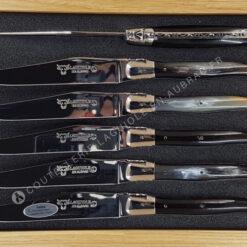 couteaux de table laguiole en aubrac manche en corne inox