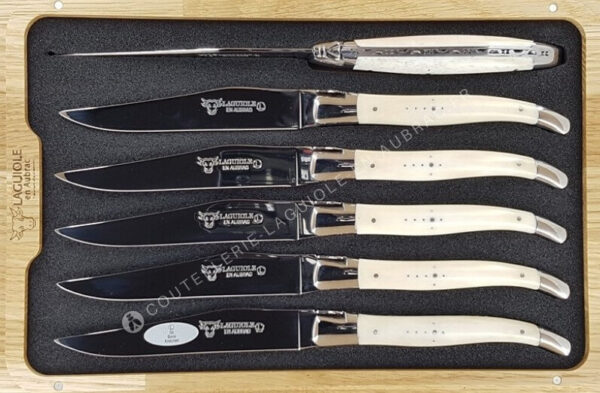 couteaux de table laguiole en aubrac manche os de boeuf