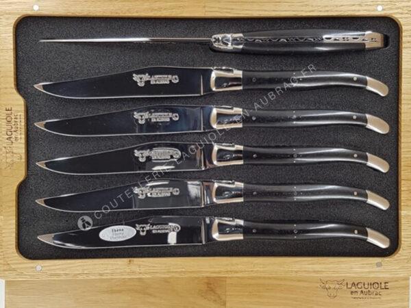 couteaux de table laguiole en aubrac noir en bois d'ebene