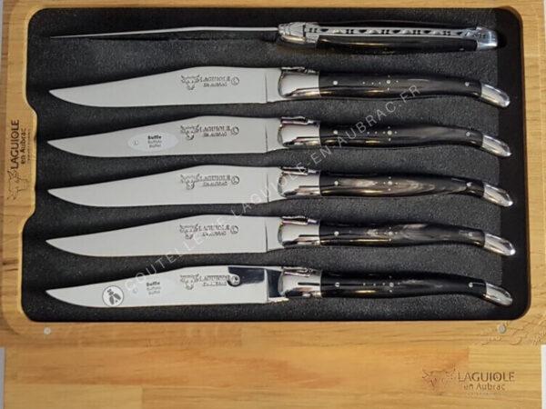 couteaux de table laguiole en corne noire