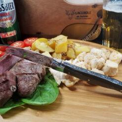 couteaux de tables laguiole en aubrac en corne noire (croute)