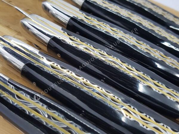 couteaux de tables laguiole manche en corne noire doubles platines
