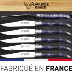 couteaux laguiole de table manche buckeye burl bleu
