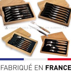 Fourchettes et Cuillères Laguiole en Aubrac manche bois de Wenge - Inox ou Laiton - LEA COUV INOX WE