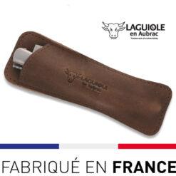étui cuir pour couteau laguiole vintage marron