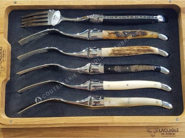 fourchettes de table laguiole en aubrac en corne et os