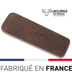 laguiole en aubrac - étui cuir vintage marron