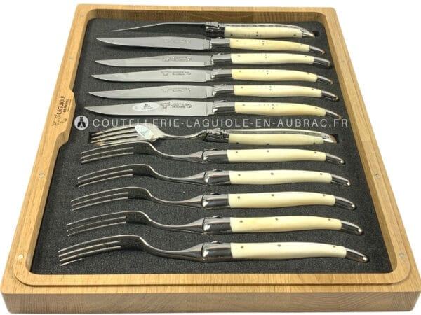 ménagère couteaux et fourchettes laguiole en aubrac en os de boeuf