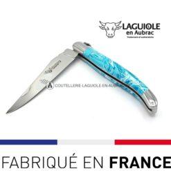 couteau pliant laguiole manche larimar bleu