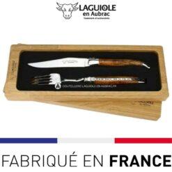 set 1 couteau 1 fourchette laguiole en aubrac