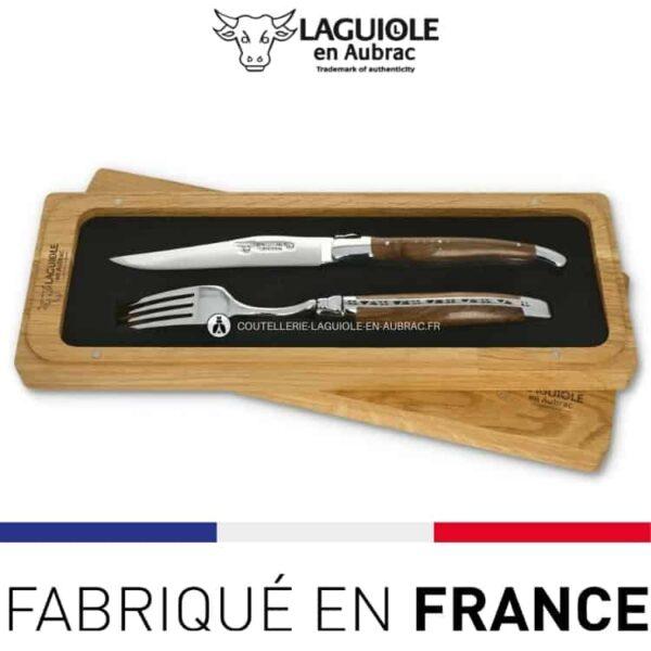 set 1 couteau 1 fourchette laguiole en aubrac cep de vigne