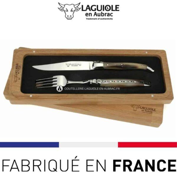 set 1 couteau 1 fourchette laguiole en aubrac corne