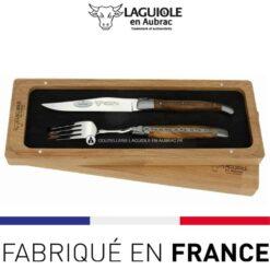 set 1 couteau 1 fourchette laguiole en aubrac pistachier