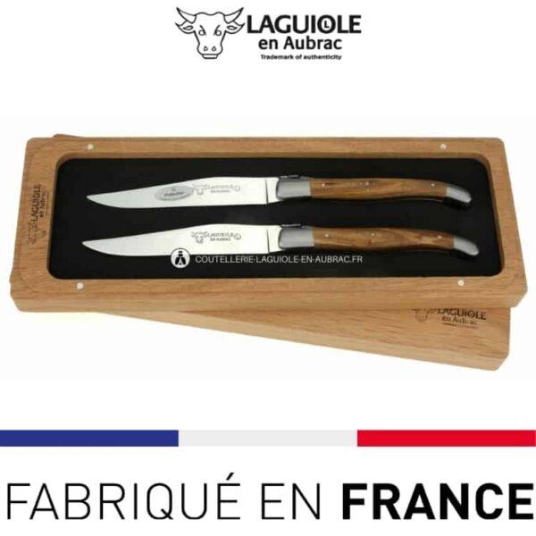 set 2 couteaux de table laguiole en aubrac