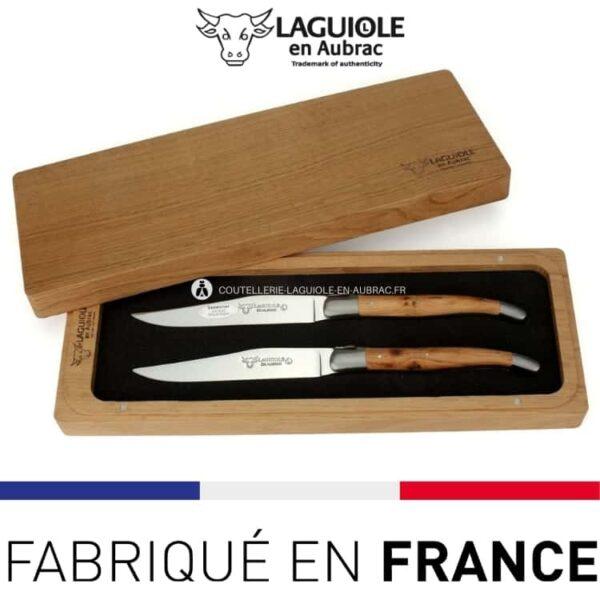 set 2 couteaux de table laguiole genévrier