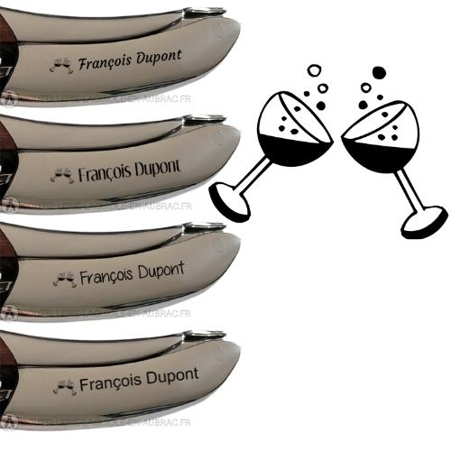 gravure verre de vin et texte sur sommelier laguiole