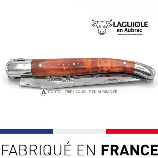 couteau pliant laguiole loupe peuplier rouge